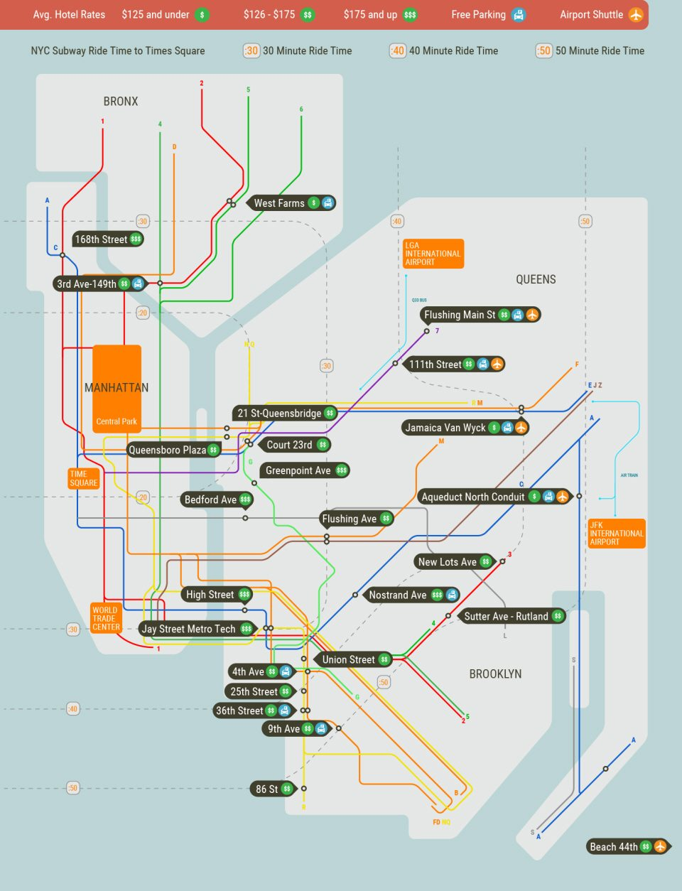 Queens And Manhatan Subway Map.Map Of Brooklyn Bronx Queens Hotels Near Nyc Subway